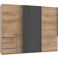 Product photograph showing Royd Mirrored Sliding Wardrobe In Grey And Planked Oak 3 Doors
