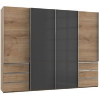 Product photograph showing Royd Mirrored Sliding Wardrobe In Grey And Planked Oak 4 Doors