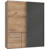 Product photograph showing Royd Mirrored Sliding Wardrobe In Grey And Planked Oak