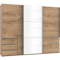 Product photograph showing Royd Mirrored Sliding Wardrobe In White And Planked Oak 3 Doors