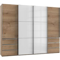 Product photograph showing Royd Mirrored Sliding Wardrobe In White And Planked Oak 4 Doors