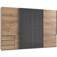Product photograph showing Royd Mirrored Sliding Wide Wardrobe In Grey Planked Oak 4 Doors