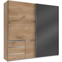 Product photograph showing Royd Mirrored Sliding Wide Wardrobe In Grey And Planked Oak
