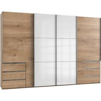 Product photograph showing Royd Mirrored Sliding Wide Wardrobe In White Planked Oak 4 Doors