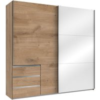 Product photograph showing Royd Mirrored Sliding Wide Wardrobe In White And Planked Oak