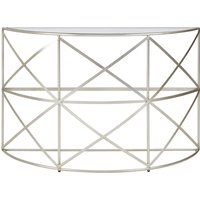 Product photograph showing Muscida Tempered Glass Leaf Demilune Console Table In Silver