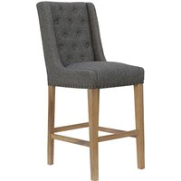 Product photograph showing Rugeley Fabric Button Back Bar Stool In Dark Grey With Studs