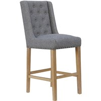 Product photograph showing Rugeley Fabric Button Back Bar Stool In Light Grey With Studs