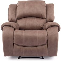 Product photograph showing Ryan Textured Fabric 1 Seater Electric Recliner Chair In Biscuit