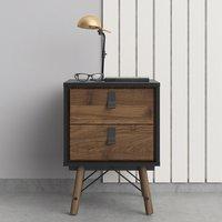 Rynok Wooden Bedside Cabinet In Matt Black Walnut With 2 Drawers