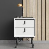 Rynok Wooden Bedside Cabinet In Matt White With 2 Drawers