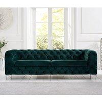 Sabine Velvet Three Seater Sofa In Plush Green With Metal Legs