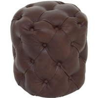 Product photograph showing Sadalmelik Coffee Leather Stool In Brown