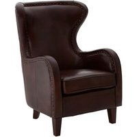 Product photograph showing Sadalmelik Faux Leather Armchair In Dark Brown