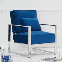 Product photograph showing Saffiyas Velvet Upholstered Accent Chair In Blue
