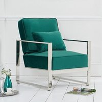 Product photograph showing Saffiyas Velvet Upholstered Accent Chair In Green