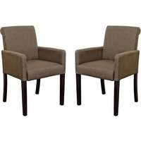 Saiph Brown Fabric Upholstered Carver Dining Chairs In Pair