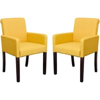 Saiph Yellow Fabric Upholstered Carver Dining Chairs In Pair