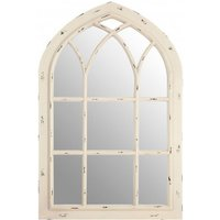 Product photograph showing Sake Window Design Wall Bedroom Mirror In Chinese Oak Frame