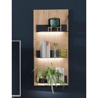 Salerno LED Wall Wooden 3 Shelves Shelving Unit In Planked Oak