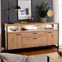 Salerno LED Wooden 2 Doors 2 Drawers Sideboard In Planked Oak