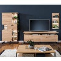 Product photograph showing Salerno Led Wooden Living Room Furniture Set 1 In Planked Oak