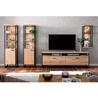 Product photograph showing Salerno Led Wooden Living Room Furniture Set 2 In Planked Oak