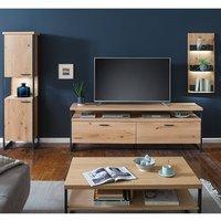 Product photograph showing Salerno Led Wooden Living Room Furniture Set 3 In Planked Oak