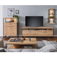 Product photograph showing Salerno Led Wooden Living Room Furniture Set 4 In Planked Oak