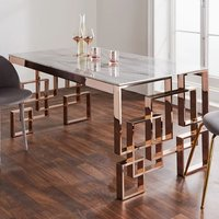 Product photograph showing Salina Marble Effect Glass Dining Table With Rose Gold Frame