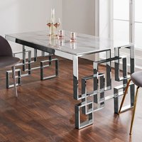 Product photograph showing Salina Marble Effect Glass Dining Table With Silver Frame
