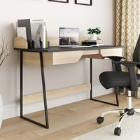 Product photograph showing Salisbury Wooden Computer Desk In Oak And Black