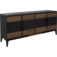 Nushagak Wooden Sideboard In Natural And Black With 4 Doors