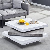 Product photograph showing Triplo Square Coffee Table In White Gloss Concrete Effect