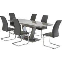 Samson Extending Grey Glass Dining Table 6 Grey Soho Chairs