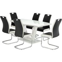 Samson Glass Dining Table In White High Gloss 6 Venice Chairs