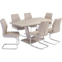Product photograph showing Samson Latte Gloss Dining Table With 6 Capri Stone Chairs