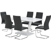 Samson Glass Dining Table In White High Gloss 6 Black Chairs