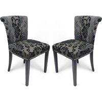 Product photograph showing Sandringham Charcoal Baroque Velvet Accent Chairs In Pair