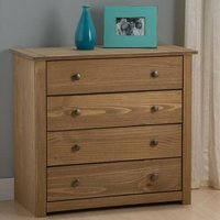 Santiago Chest Of Drawers In Distressed Pine With 4 Drawers