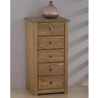 Product photograph showing Santiago Chest Of Drawers In Distressed Pine With 5 Drawers