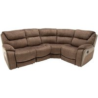 Product photograph showing Santiago Fabric Upholstered Recliner Corner Sofa In Brown