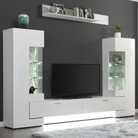 Product photograph showing Santiago Entertainment Unit In White High Gloss With Led Lights