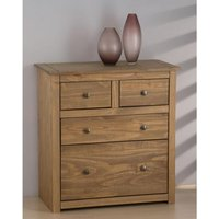 Product photograph showing Santiago Wooden Chest Of Drawers In Distressed Pine