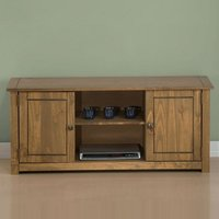 Product photograph showing Santiago Wooden Tv Stand In Distressed Pine With 2 Doors