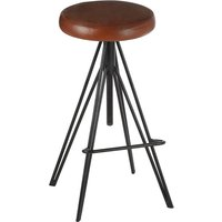 Product photograph showing Santorini Round Brown Leather Stool With Black Metal Legs