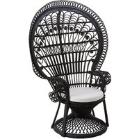 image-Sara Lounge Or Bedroom Chair In Rattan Black Peacock Design