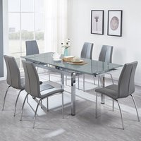 Sarah Extendable Glass Dining Table In Grey With 6 Opal Chai