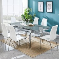 Sarah Extendable Grey Glass Dining Table And 6 Opal White Ch