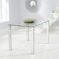 Product photograph showing Sarahan Rectangular Glass Dining Table With Chrome Legs
